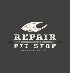 Car repair badge with shabby texture vector