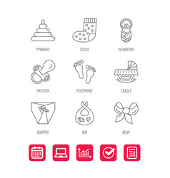 Pacifier diapers and newborn icons footprint vector