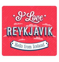 Vintage greeting card from reykjavik vector