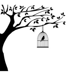 Bird cage tree vector