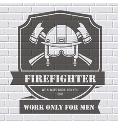 Firefighter logo or label template background on vector