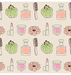 Cosmetics seamless pattern hand drawn lipstick vector