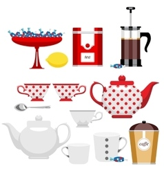 Set of different items for tea vector