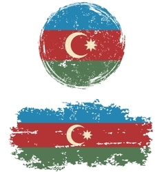 Azerbaijani round and square grunge flags vector