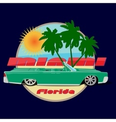 Miami florida car cadillac print vector
