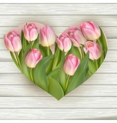 Tulip heart frame bouquet eps 10 vector