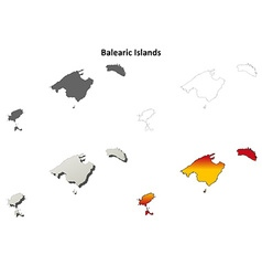 Balearic islands blank outline map set vector