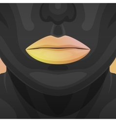Beauty woman face with orange shiny lips vector