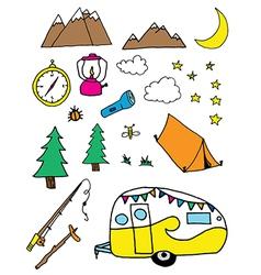 Bright camping doodles clip art vector