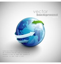 business concept design with blue globe and arrows vector image vector image