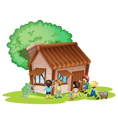 Children painting the house vector image vector image
