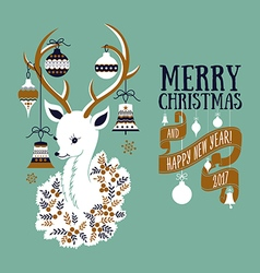 Christmas deer - greeting card vector image