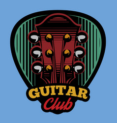 Colored logo template ple trum and guitar vector
