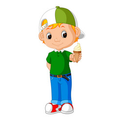 cute boy cartoon licking ice cream vector image vector image