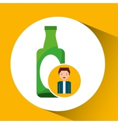Cute boy recycle ecology icon glass bottle vector