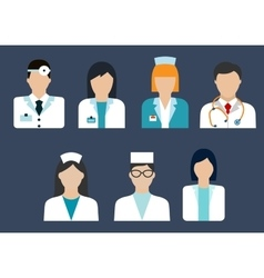 Doctors and nurses avatar flat icons vector image