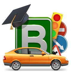 Driving school concept with car vector