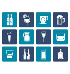 Flat different kind of drink icons vector image vector image