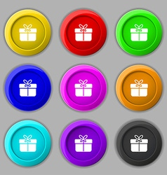 Gift box icon sign symbol on nine round colourful vector
