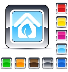 green home square button vector image vector image