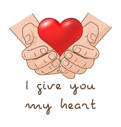 I give you my heart heart in hand of romantic vector