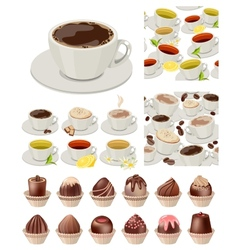 Ig realistic set with cups of tea and coffee vector