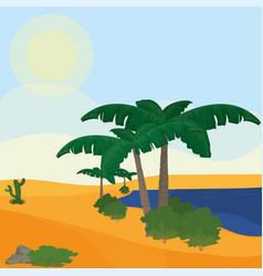 Lake on desert vector