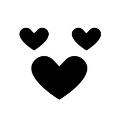 love hearts icon black sign vector image vector image