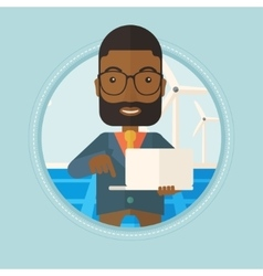Man checking solar panels and wind turbines vector