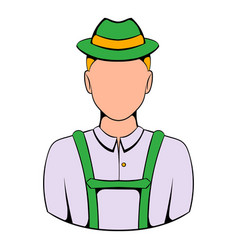 Man in traditional bavarian costume icon cartoon vector