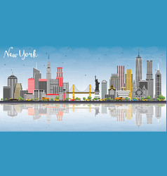 new york usa city skyline with gray buildings vector image vector image