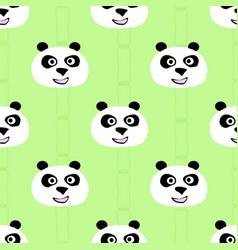 panda face seamless pattern vector image