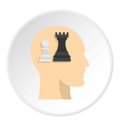 Queen and pawn chess inside human head icon circle vector