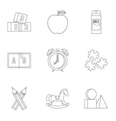 School time icons set outline style vector