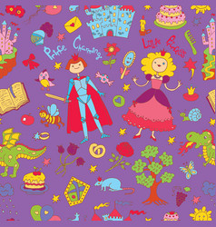 seamless pattern with colorful prince and princess vector image