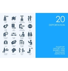 Set of blue hamster library deportation icons vector