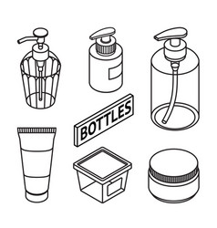 set of line style cosmetics for skin care icons vector image