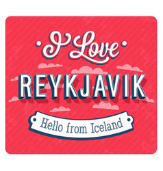 vintage greeting card from reykjavik vector image