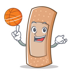 with basketball band aid character cartoon vector image vector image