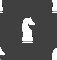 Chess knight icon sign seamless pattern on a gray vector
