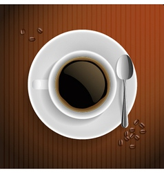 Cup of black coffee with coffee grain and spoon vector