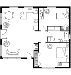 Architectural plan of a house vector