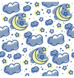 Moons and clouds vector