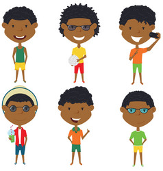 Summer african- american male characters vector