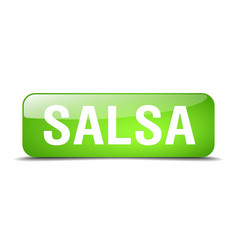 Salsa green square 3d realistic isolated web vector