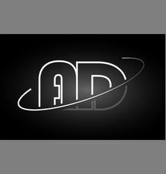 ad a d letter alphabet logo black white icon vector image