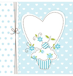 Blue cupcake background vector