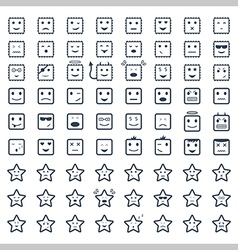 Big set smile icon vector