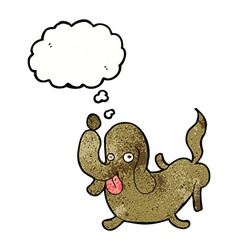 Cartoon dog sticking out tongue with thought vector