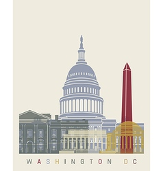 Washington DC skyline poster vector image